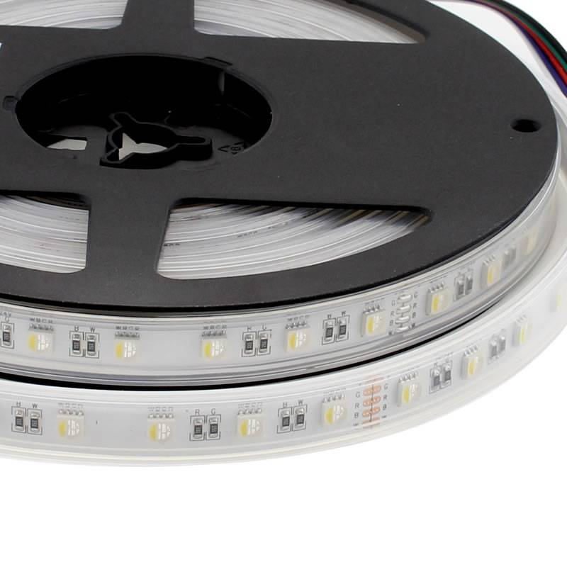 Tira LED EPISTAR SMD5050, RGB+W, DC24V, 5m (60Led/m 4 en 1) - IP67, RGB + Blanco frió, Regulable